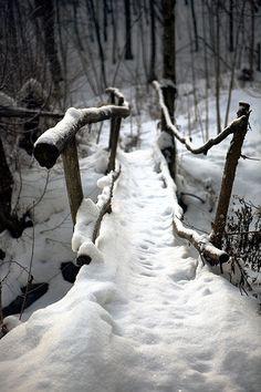 Fairytale bridge with crooks and bends ... #snowy woods #wooden walking bridge