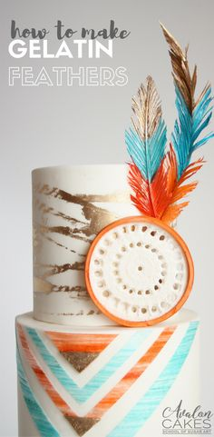 This Bohemian Southwestern Wedding Cake tutorial show you how to create edible gumpaste dream catchers, gelatin flowers, quick gold textures and more! Cake Decorating For Beginners, Cake Decorating Techniques, Cake Decorating Tutorials, Drip Cake Tutorial, Fondant Cake Tutorial, Native American Cake, How To Make Gelatin, Feather Cake, Cake Pops