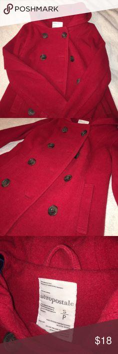 Red Pea Coat Warm button up Pea Coat Aeropostale Jackets & Coats Pea Coats