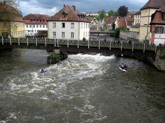 GERMANY, BAVARIA, BAMBERG, Geyerswörthsteg, kayak training