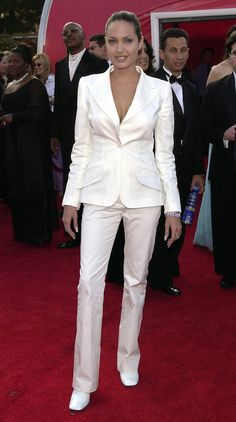 Going the borrowed-from-the-boys route, she looked dashing in a fitted white Dolce & Gabbana suit at the Oscars.   - MarieClaire.com