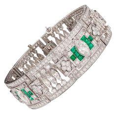 Art Deco Emerald Diamond Platinum Panel Bracelet early 20th century