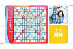 save the date postcards with scrabble board  game messages embedded with details