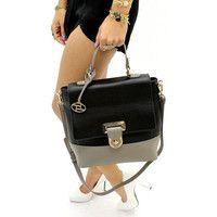 57408527d62436 Black and Grey Color Block Saddle Bag