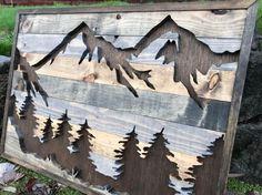 Rústico de montañas y árboles silueta arte de la pared