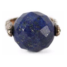 Pre-Owned Bottega Veneta Silver Lapis Stone Ring ($300) ❤ liked on Polyvore featuring jewelry, rings, blue silver ring, blue stone jewellery, blue stone ring, blue ring and silver jewellery