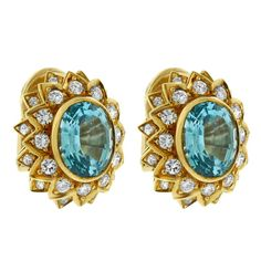18K YELLOW GOLD DIAMOND BLUE SAPPHIRE SUN FLOWER EARRINGS #GabrielLorenK