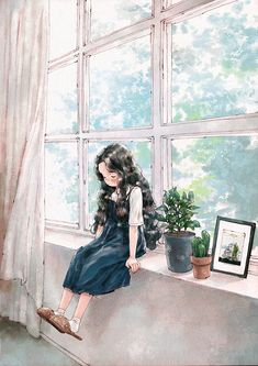 """If my legs were long enough to reach the ground when I sit on the windowsill, if my feet were big…"" Girls Cartoon Art, Forest Girl, Girly Art, Illustration, Dreamy Art, Cute Art, Art, Cute Cartoon Wallpapers, Cartoon Art"