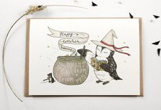 """happy witches brewing"" greeting card - owl"