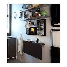 BJURSTA Wall-mounted drop-leaf table - brown-black - IKEA great for small kitchen space