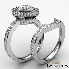 Round Diamond Engagement Bridal Set Halo Ring GIA F SI1 14k White Gold 2.7ct