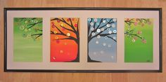 The Four Seasons Button Tree- Framed and Matted- Original-Acrylic Paints & Buttons on Canvas. $75.00, via Etsy.