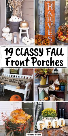19 Gorgeous Fall Front Porch Decor Ideas 19 Cheap & easy Fall front porch decor ideas you need to use this Fall! These Fall front porches are frugal, simple and really stand out! Diy Fall Wreath, Fall Wreaths, Fall Home Decor, Fall Yard Decor, Porch Decorating, Decorating Ideas, Fall Crafts, Decor Crafts, Wood Crafts