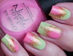 Pink,Green and Gold Nail Varnish Get Nails, Love Nails, Pretty Nails, Hair And Nails, Creative Nail Designs, Beautiful Nail Designs, Nail Art Designs, Awesome Designs, Crazy Nail Art