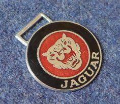 Vintage enamel car keyfob badge Jaguar emblem by GeraniumBlue