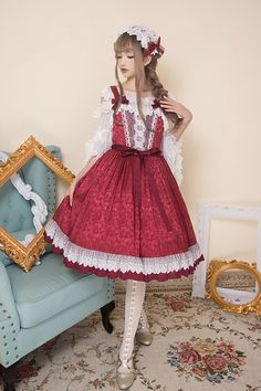 Little Dipper -Rose Lake- Classic Lolita Jumper Dress Version I