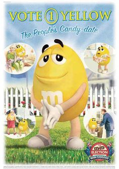 Vote for your favourite M&M poster design. Vote poster designs from the advertising campaign by M&M's chocolate candy. Yellow M&m, Mellow Yellow, Lemon Yellow, Orange, M M Candy, Candy Art, M&m Characters, Miss Green, Chocolate Brands
