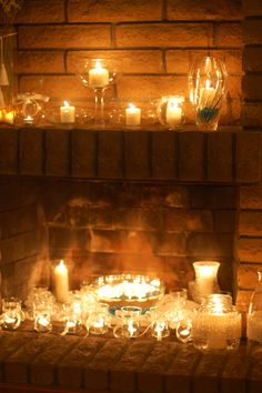 Fireplace filled with candles, Looking for something to do when an actual fire isn't appropriate.