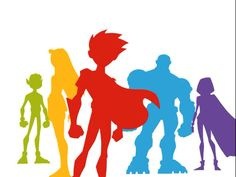 Teen Titans Silhouettes - White by EchoLeader on DeviantArt Deathstroke, Original Teen Titans, Crime, Beast Boy, Adolescents, Teen Titans Go, Old Cartoons, Nightwing, Dc Comics