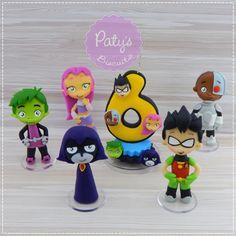 Kit miniaturas + vela Jovens Titãs em Ação no Elo7 | Paty's Biscuit (CE9713)
