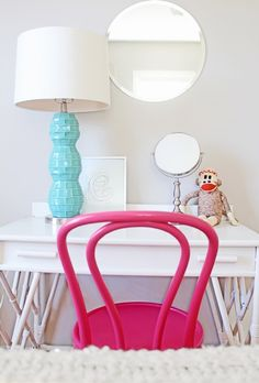 A Quirky, Casual Home In St. Louis By Color Me Carla. Vanity Living Room via Design Shuffle Pink Turquoise, Turquoise Chair, Aqua, Accent Furniture, Painted Furniture, White Furniture, Teal Table Lamps, Teal Lamp, Child Room