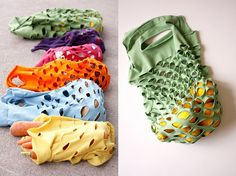 I think these are made from t-shirts.  would be good for collecting the veggies...