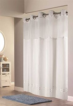 Hookless Shower Curtain, Woven Fabric, Shower Curtains, Simple Elegance,  Showers, Magnets, Chrome, Weave, Satin