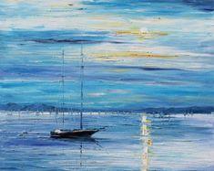Oil Painting Blue Moon PALETTE KNIFE by AfremovArtStudio on Etsy