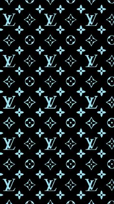 Louis Vuitton iPhone Background Cyan Blue/Black