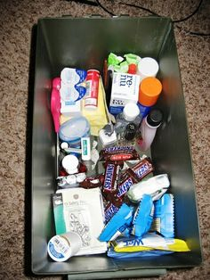 Wedding Day Emergency Kit ~ I made one of these for a friend's bridal shower, and she LOVED it. She used so many things from it on her wedding day and took it along on her honeymoon. Think about your bride friend, and she she might need the most. Oh, and I high recommend stain remover, and a beautiful hankie for happy tears. ;)