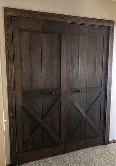 Creating A Barn Door from Bifold Doors. Creating A Barn Door from Bifold Doors - Lemons, Lavender, Bifold Barn Doors, Sliding Barn Door Hardware, Sliding Doors, Interior Barn Doors, Home Interior, Interior Design, Interior Paint, Home Renovation, Home Remodeling