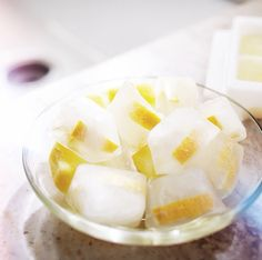Lemon peel frozen in white vinegar makes for the freshest garbage disposal on the block