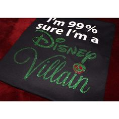I'm 99% sure I'm a Disney Villain, Snow White inspired GLITTER T-shirt ($19) ❤ liked on Polyvore featuring tops, t-shirts, vinyl shirt, silver metallic top, t shirt, glitter tees and silver metallic shirt