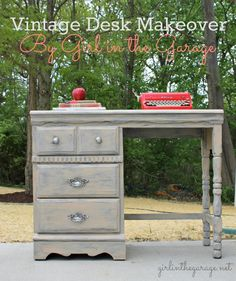 Vintage Desk Makeover By Girl In The Garage An Old Tattered Yard Sale Was