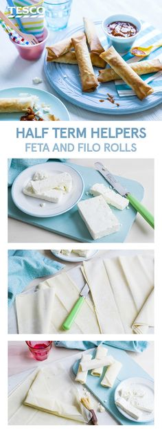 Keep little ones busy this half-term with this super simple baking recipe for feta and filo rolls. Made in just three steps, they are a brilliant fuss-free snack for a kids party. | Tesco