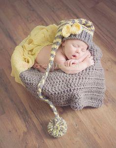 Stocking hat Blanket set long tail elf hat baby hat, crochet hat chunky blanket mini ghan bumpy blanket n 0 3 6 12 months Photography propp