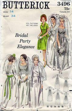 60s Wedding Dress Pattern  Size 14 Bust 34  by lasavonfemme, $9.95