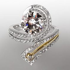 O.M.G.!! Swirl Motif 1.8 Carat Diamond Engagement Ring 14K Gold