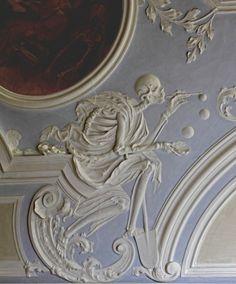 """Dance of Death,"" ceiling plaster created by Johann Georg  Leinberger, 1729 - 1731,  City Hospital, former St. Michael Benedictine Monastery, Bamberg, Germany"