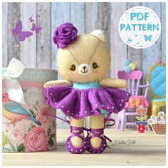 PDF Pattern, Felt Bear Ballerina (Kumita). Instant Download. Felt Pattern, Doll Pattern.