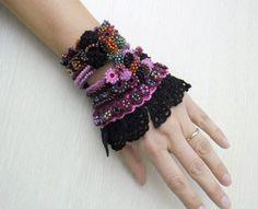 Crochet Cuff Bracelet (+BONUS 1 Kokeshi crochet doll), Beaded Cuff Bracelet, Crochet Jewelry, Glass beads, Crocheted Roses, Crochet Lace