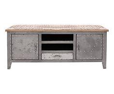 Meuble TV DETROIT, gris et naturel - L146