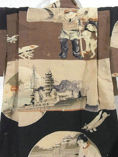 Boy's kimono showing mother with son dressed in military attire outside the Imperial Palace to celebrate the Emperor's birthday. Children would dress up in military uniform to celebrate Empire Day, the Emperor's birthday, and to visit Yasukuni Shrine to pray for the fallen. Also shown is the battleship Nagato