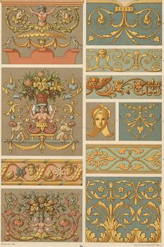 Renaissance Decorative Ornament Tapestries by PaperPopinjay Renaissance, Motif Arabesque, Decoupage, Cultural Patterns, Victorian Books, Textile Sculpture, China Painting, Pattern And Decoration, Egyptian Art