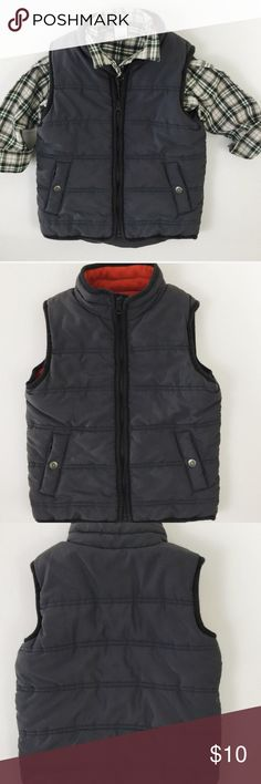 Carter's Grey Puffer Vest Carter's:  Grey puffer vest in excellent condition!  This vest is really warm and comfortable. The lining is orange and soft. This is a perfect item for layering in cooler weather and is easily paired with many items.   I will package perfectly and with love. 💜 Non-smoking home. Carter's Jackets & Coats Puffers