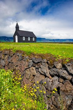 Budir Church Iceland Canvas Print for sale. Black church, green meadow and brown stone wall. Matthias Hauser - Art for your Home Decor and Interior Design. Black Church, Iceland Travel, Travel Europe, Art Prints For Sale, Landscape Photography, Travel Photography, Beautiful Landscapes, Fine Art America, Beautiful Places