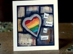 Heart Card: Rainbow Heart 4.25x4.25 blank greeting card, note card, notecard, Mixed Media, Inspirational art, LGBT, be free to love, rainbow