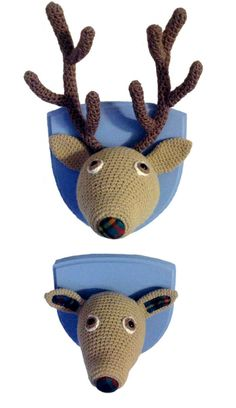 Pair of crochet red deer heads, a wedding present for a lovely couple. Woolidermy Heads by Lost in the Wood