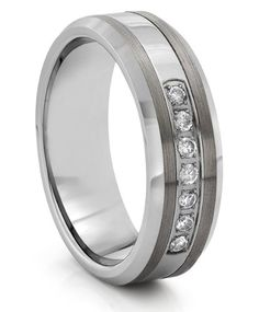 8mm Tungsten Carbide Silver CZ Mens Wedding Band Ring (Available Sizes 7-14 Including Half Sizes): Wedding gift