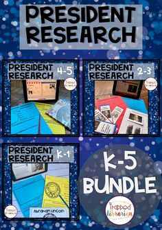 President Research Bundle K - 5 Elementary School Library, School Classroom, Elementary Schools, Social Studies Activities, Learning Resources, Fun Learning, Library Skills, Library Lessons, Research Skills